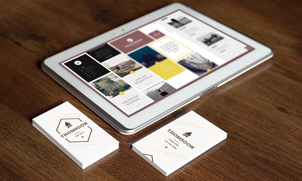 Business Card Free mockup and Tablet