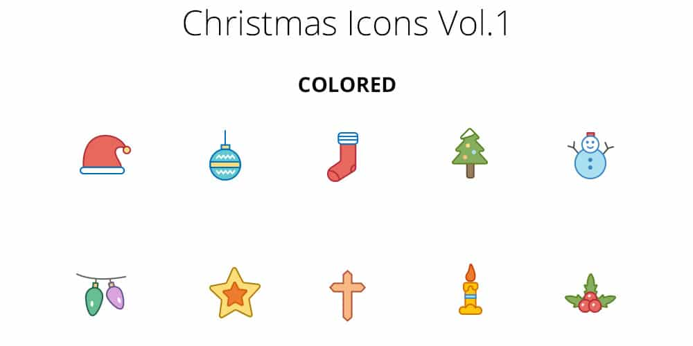 Christmas Color And Outline Icons