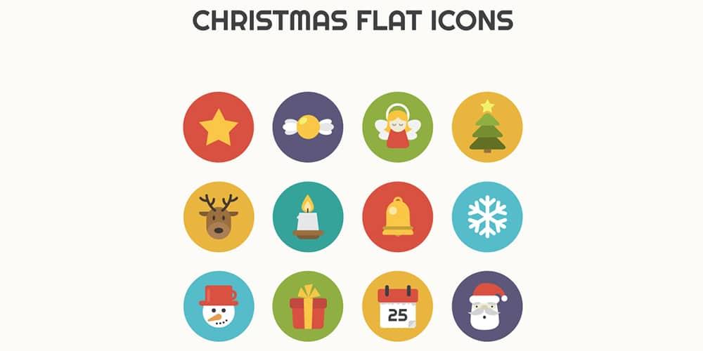 Christmas Flat Icons PSD