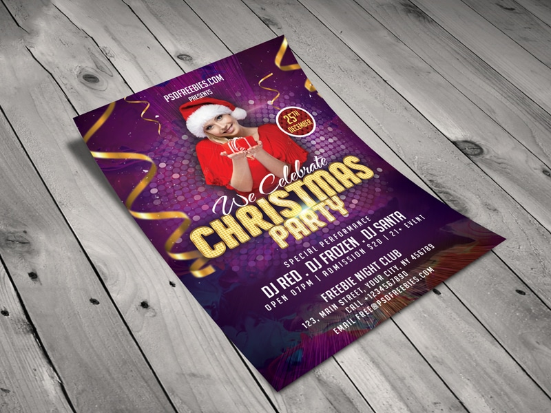 Christmas Night Party Flyer Template PSD