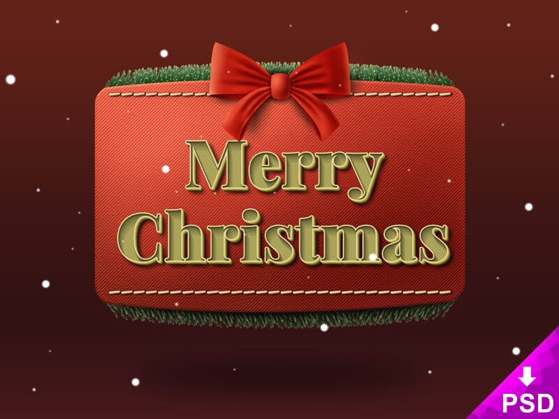 Christmas Ribbon Text Style PSD