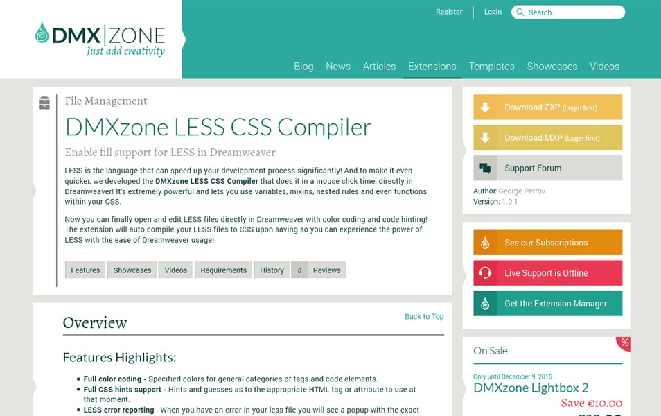 DMXzone LESS CSS Compiler