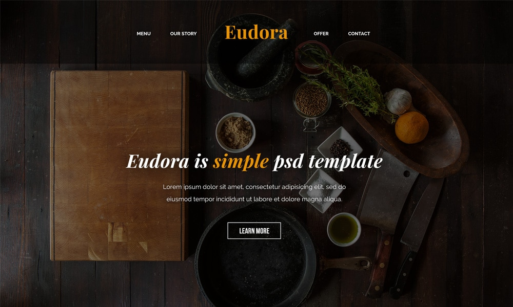 Eudora Free Web Template PSD