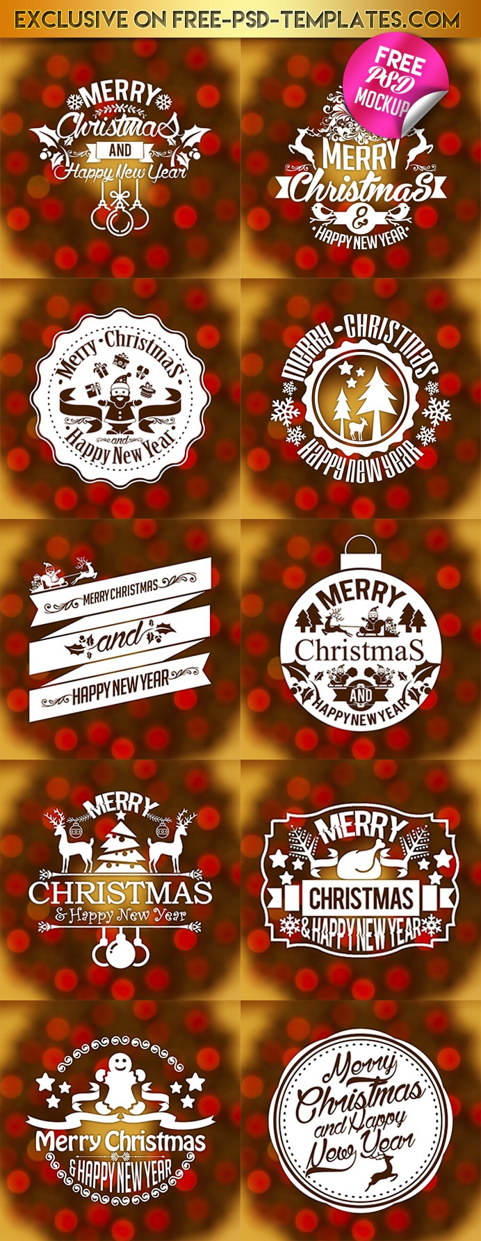 Free Christmas & New Year Vintage Labels