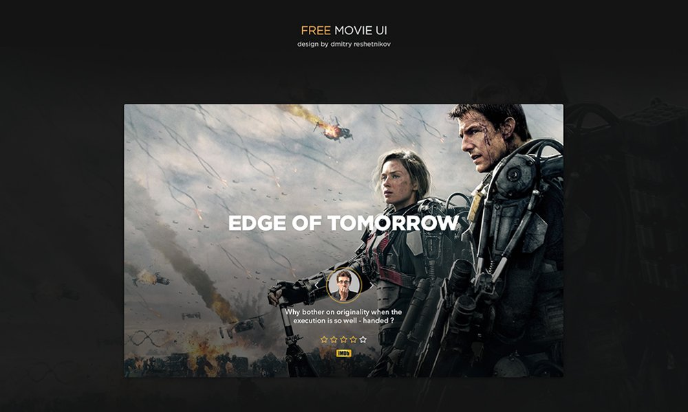 Free Movie UI kit PSD