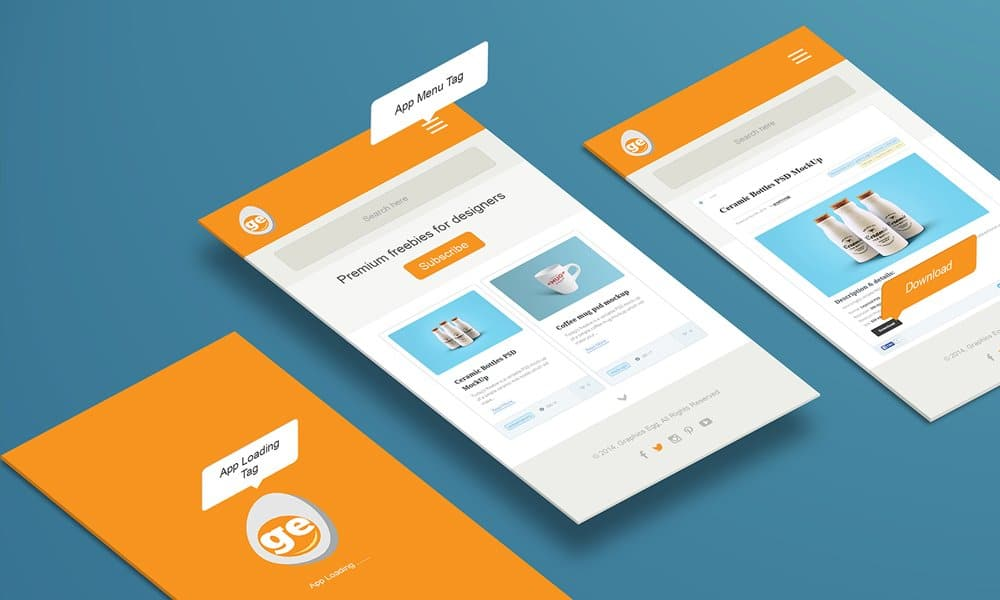 Free Perspective App Mockup PSD
