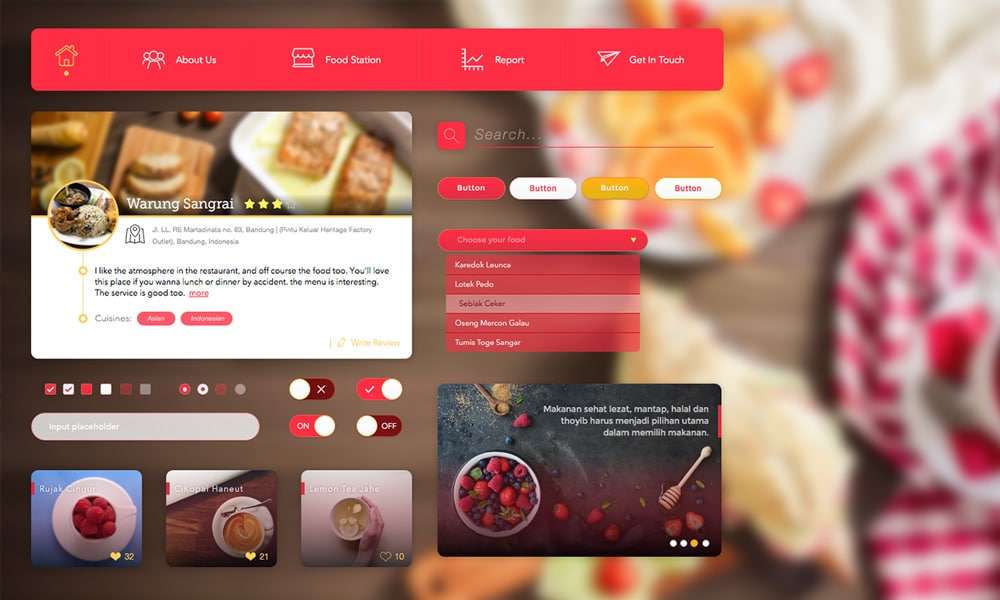 Free Restaurant & Food UI KIT