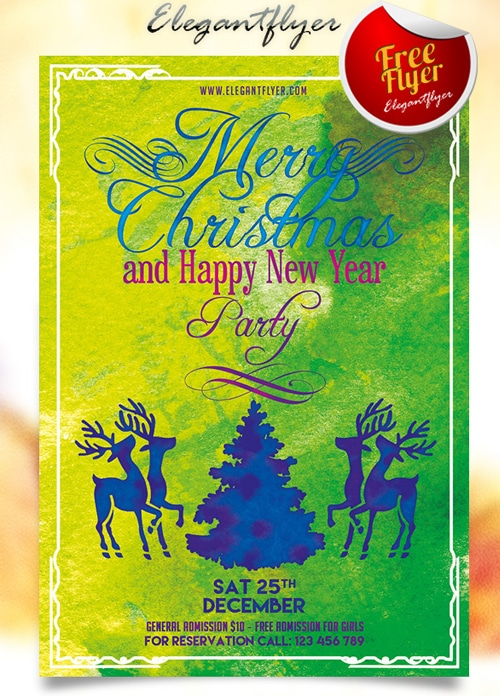 Merry Christmas and Happy New Year Party Flyer PSD