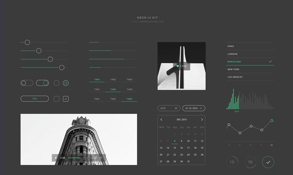 Neon UI Kit PSD