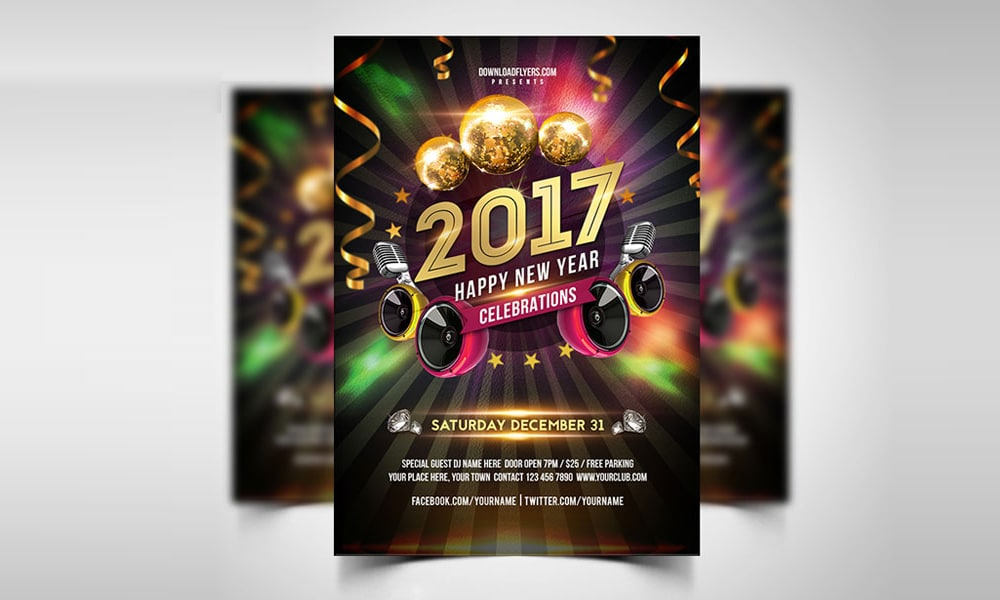 New Year 2017 Party Flyer Template PSD