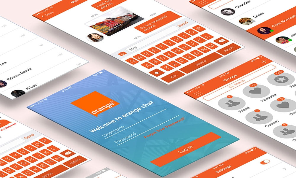 Orange Chat Free Mobile UI Kit PSD