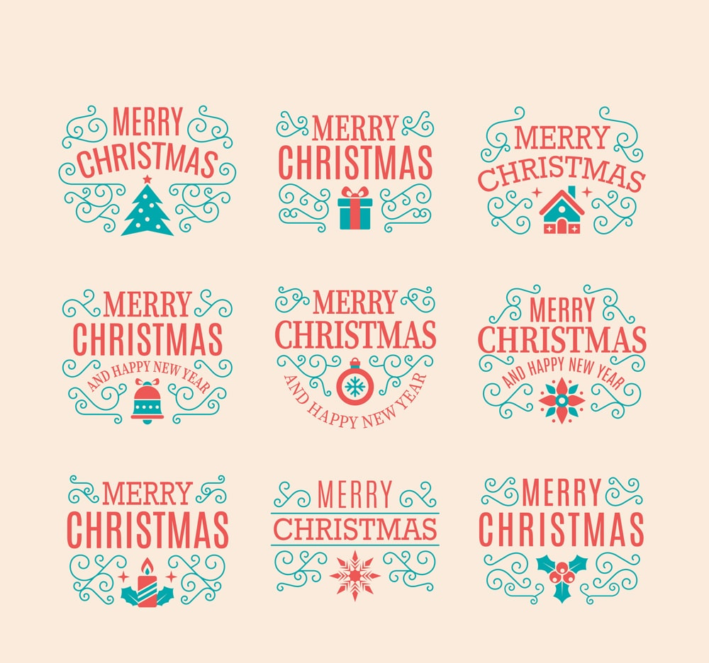 Ornamental Collection of Christmas Labels Vector