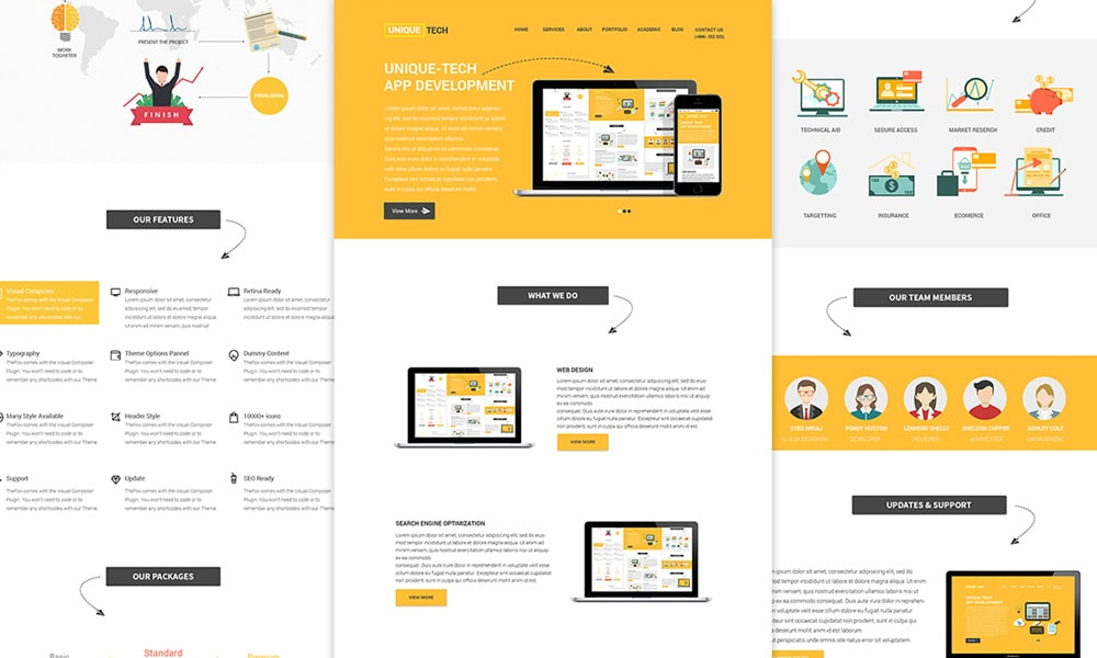 Unique Tech Free Corporate Web Template PSD