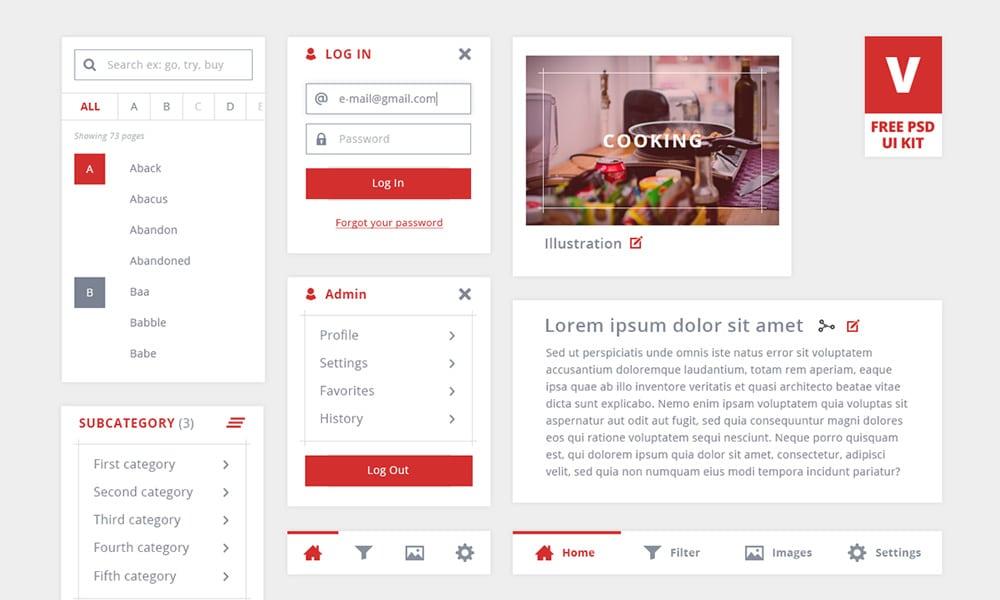 V - Free UI Kit PSD