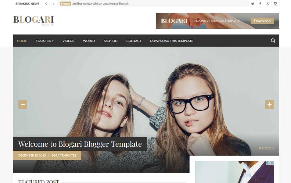 Blogari Responsive Blogger Template