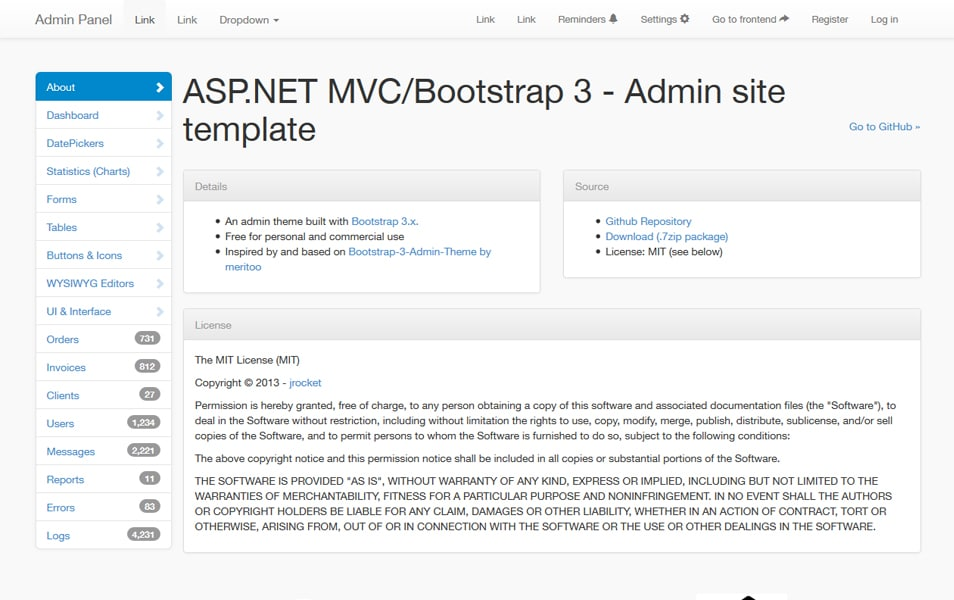 MVC Bootstrap 3.x Admin