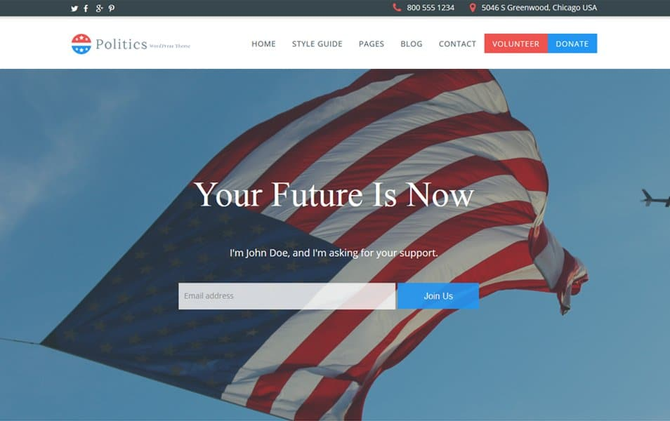 Politics Responsive WordPress Theme