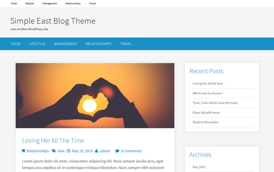Simple East Responsive WordPress Theme