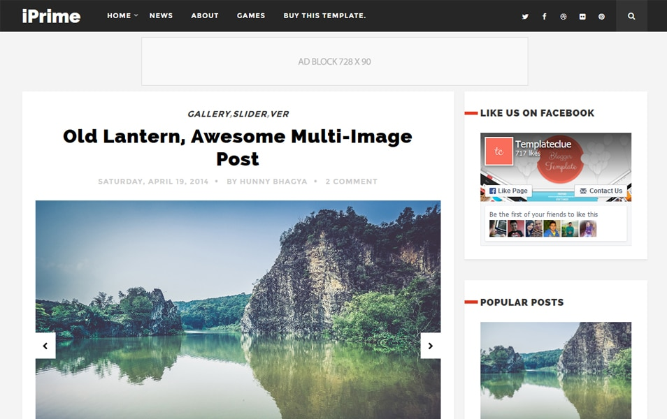 iPrime Responsive Blogger Template