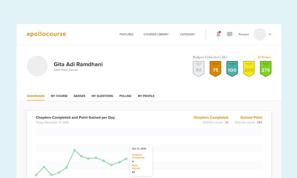 UI آپولو یادگیری آنلاین دوره داشبورد