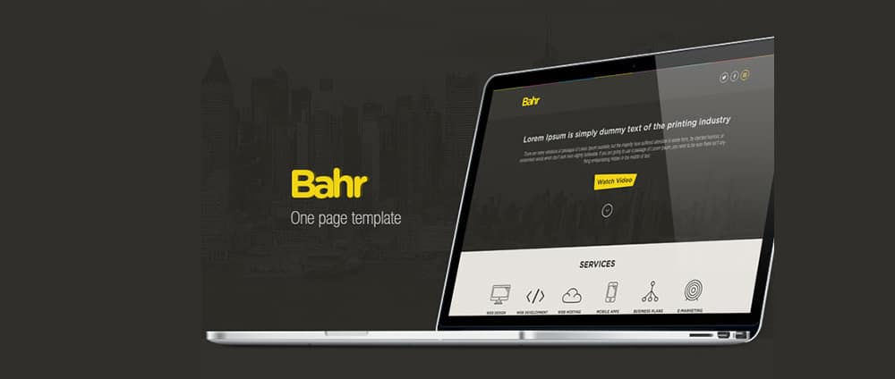 بحر - رایگان یک صفحه PSD قالب وب سایت