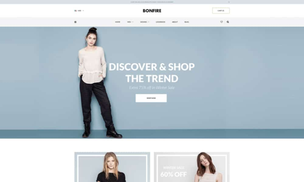 Bonfire Free E commerce Web Template PSD