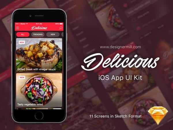 Delicious - Free Mobile App UI Kit