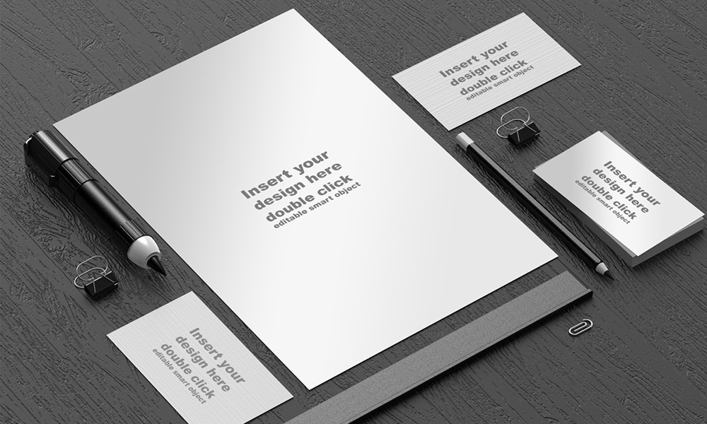 Free Black and White Office Mockup PSD
