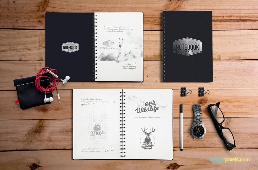 Free Notebook Mockup With Movable Elements PSD
