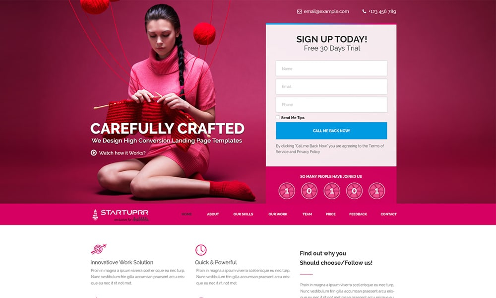 Free Startuprr Landing Page Template PSD