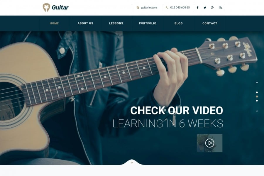 Guitar School - Educational Music Web Template PSD