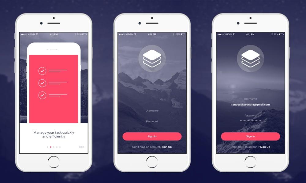 مدرن در iOS کیت UI PSD
