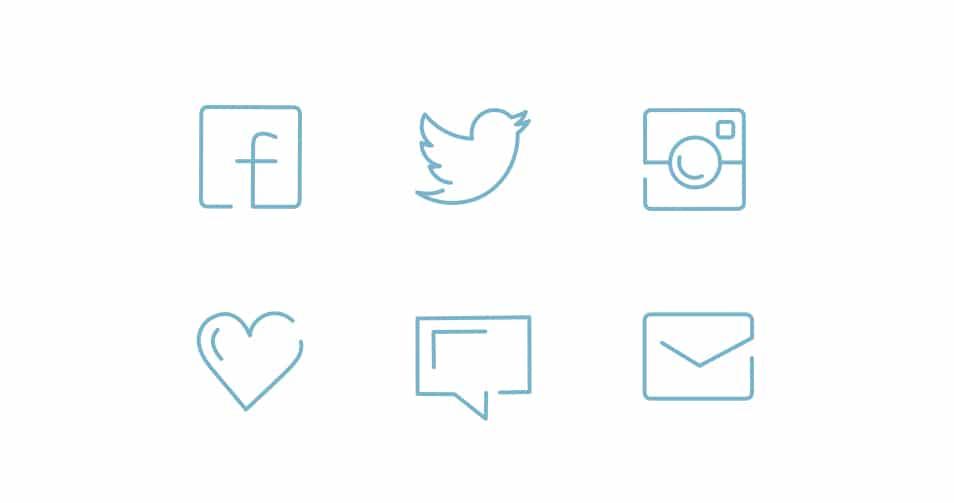 Social Line Icons Set