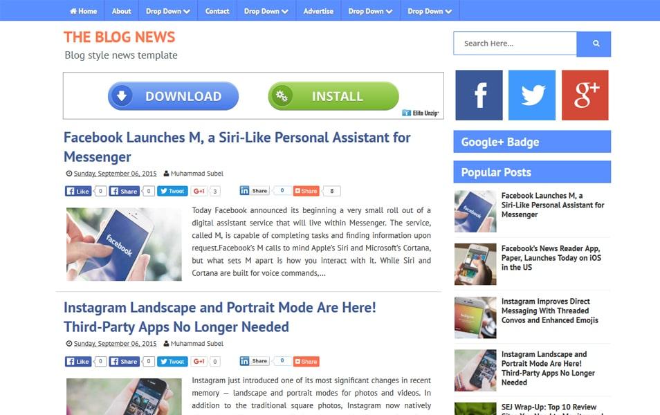 Blog News Responsive Blogger Template