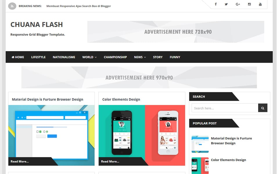 Chuana Flash Responsive Blogger Template