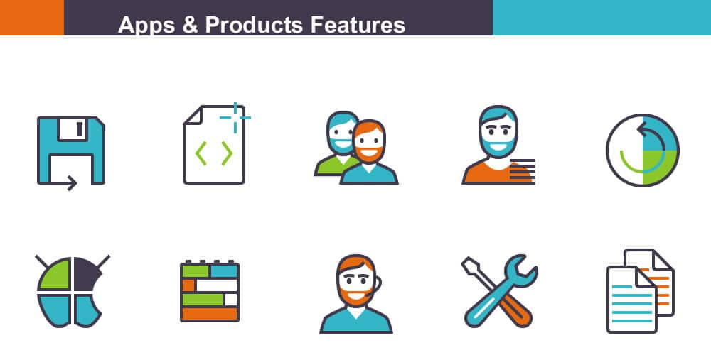 Free Apps and Products Features Icons