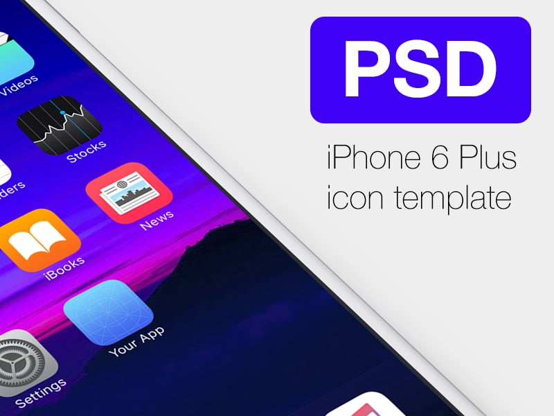 Free Icon Template PSD for iPhone6 Plus