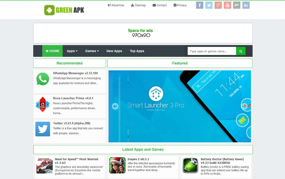 Green APK Pro Responsive Blogger Template