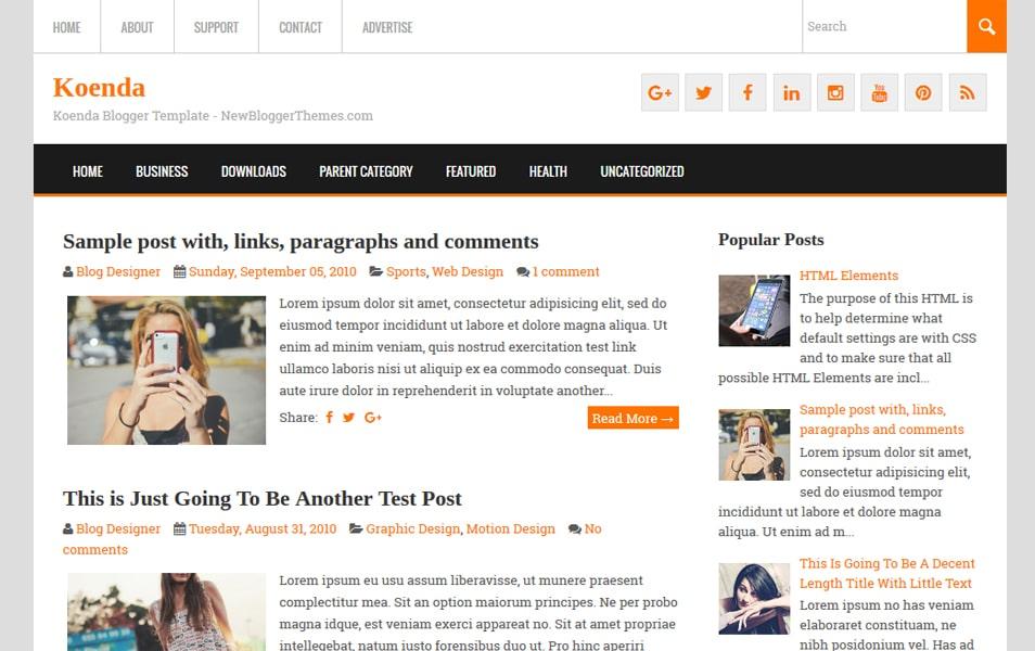 Koenda Responsive Blogger Template