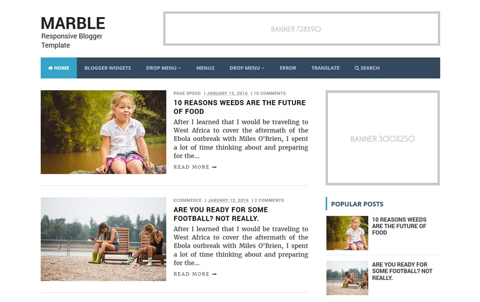 Marble Responsive Blogger Template
