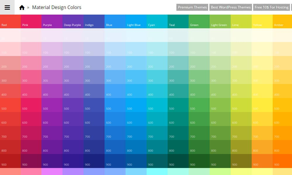 tools for generating material design color palettes css