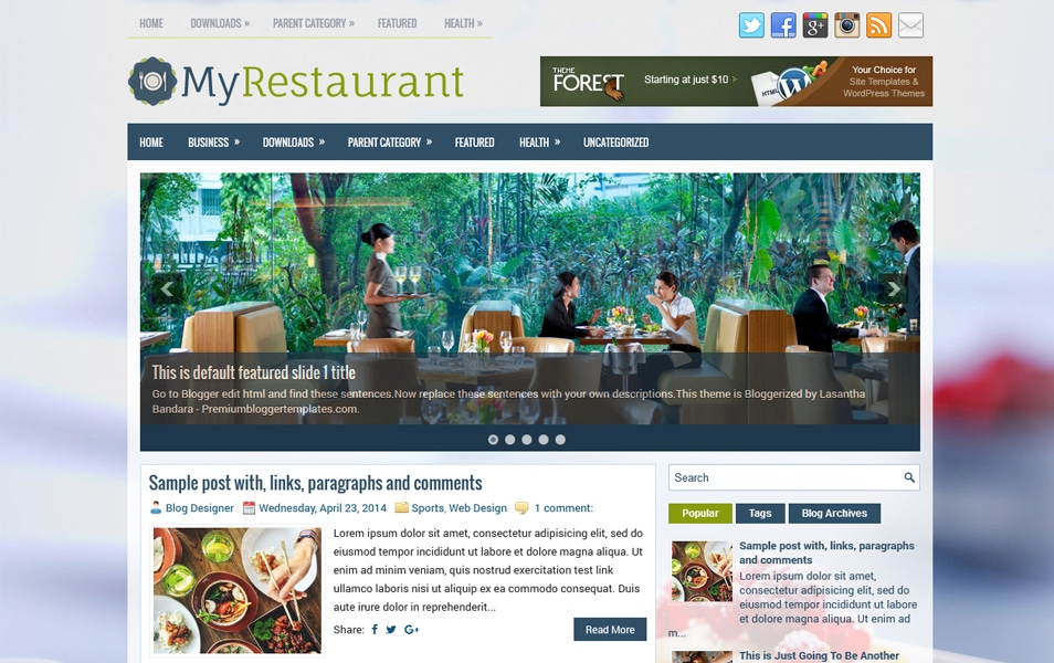 Template Blogger MyRestaurant Responsif
