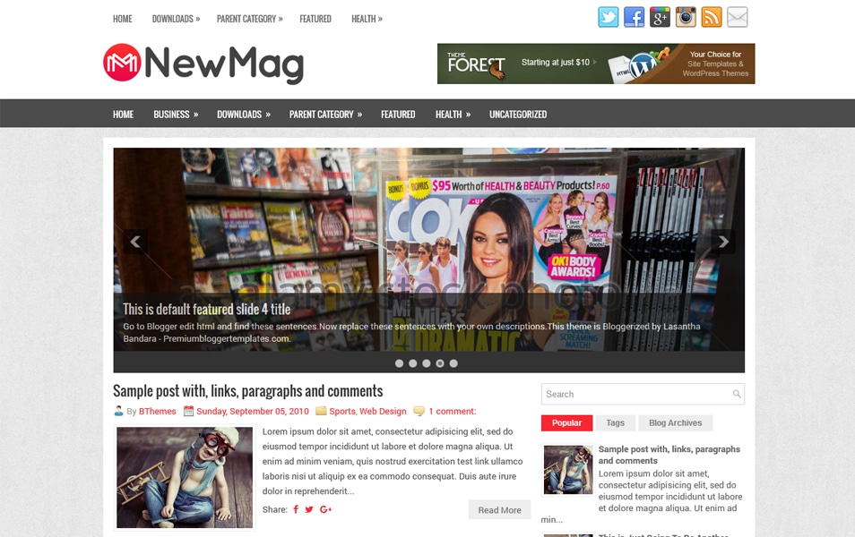 NewMag Responsive Blogger Template