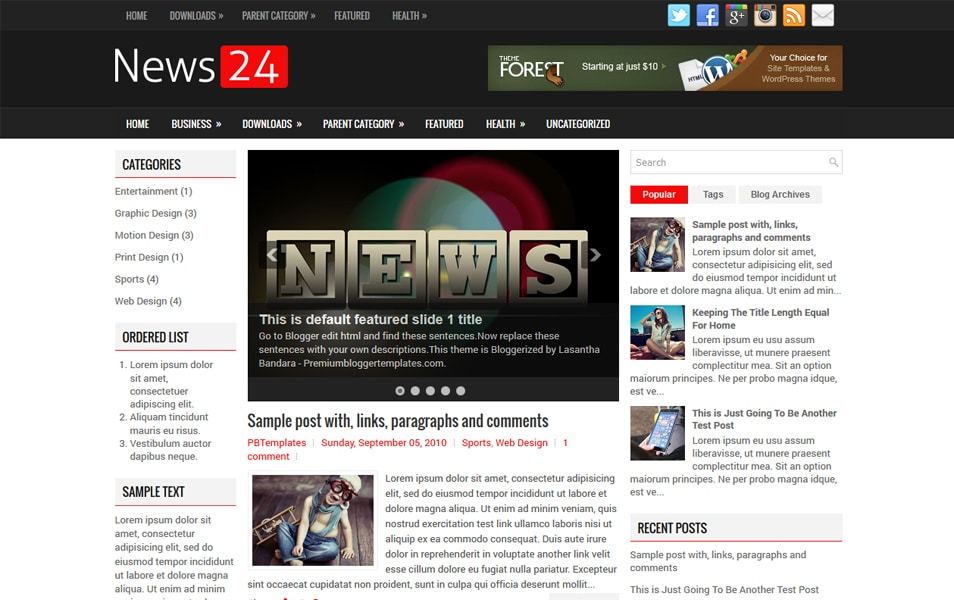 News24 Responsive Blogger Template