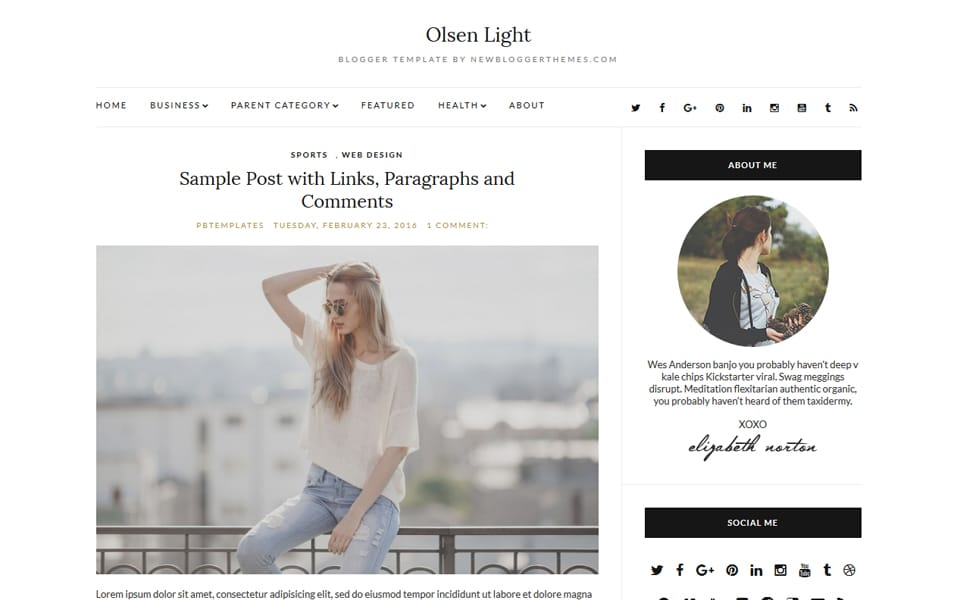 Olsen Light Responsive Blogger Template
