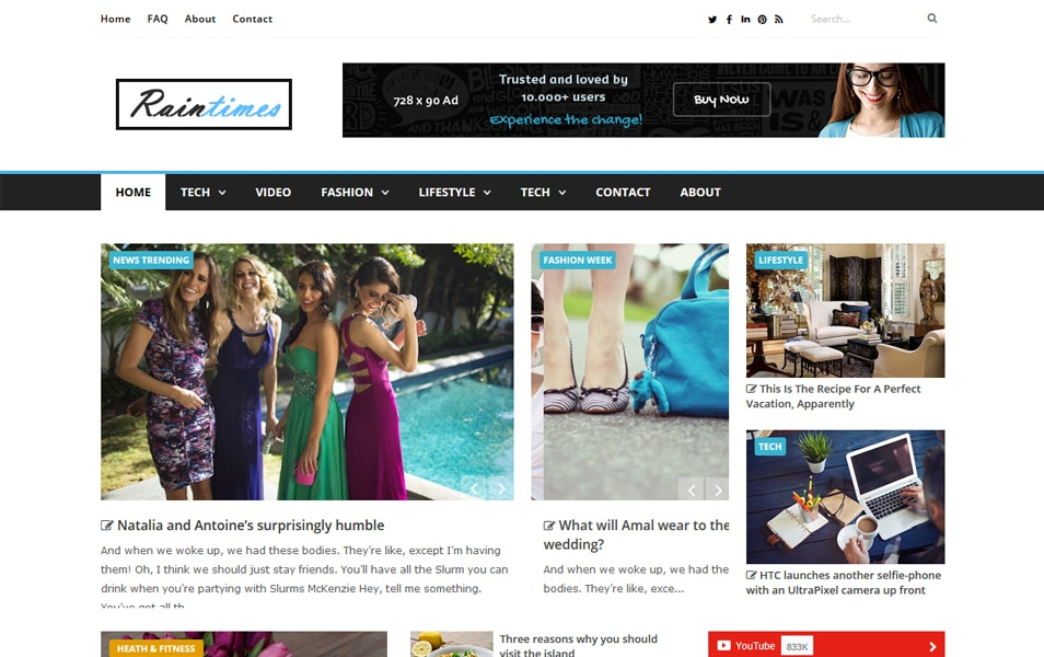 Raintimes Responsive Blogger Template
