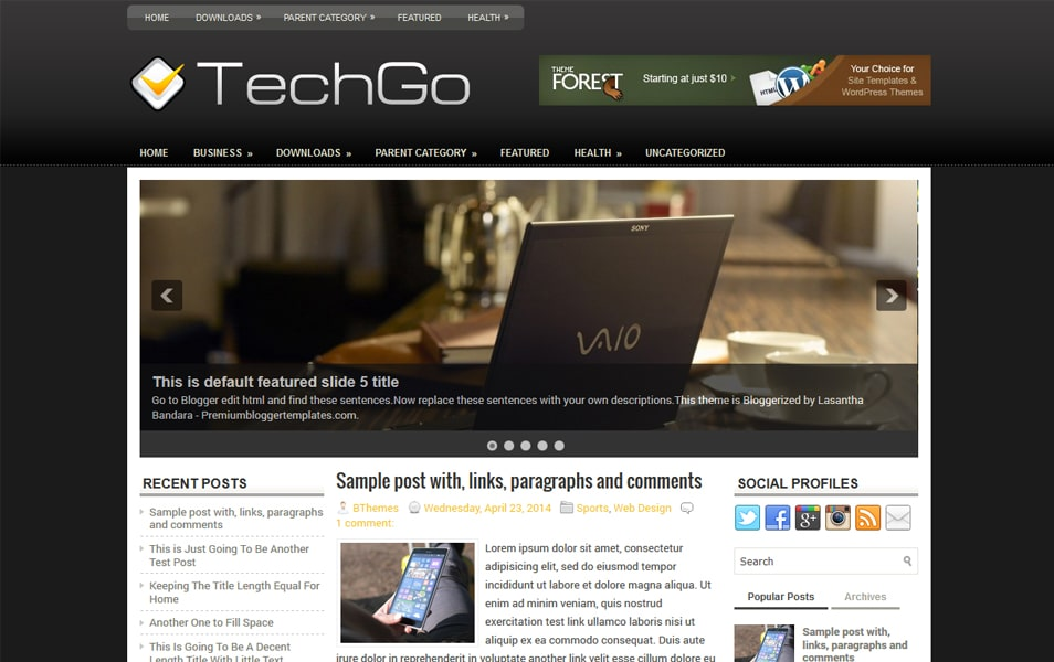 TechGo Responsive Blogger Template