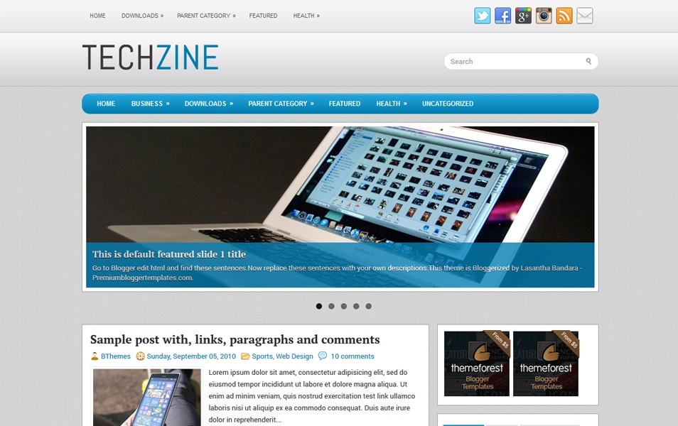 TechZine Responsive Blogger Template