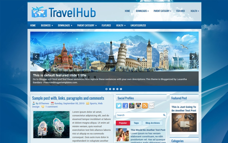 TravelHub Responsive Blogger Template