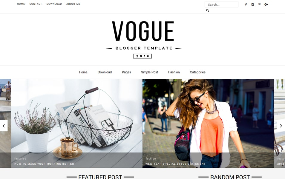 Vogue 2016 Responsive Blogger Template